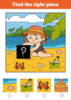 子供のための適切なピース、ジグソーパズルゲームを見つけてください。ビーチの少女