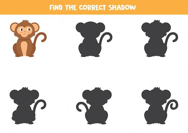 漫画の猿の正しい影を見つけます。印刷可能なワークシート。