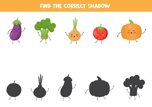 かわいい野菜の正しい影を見つけてください。