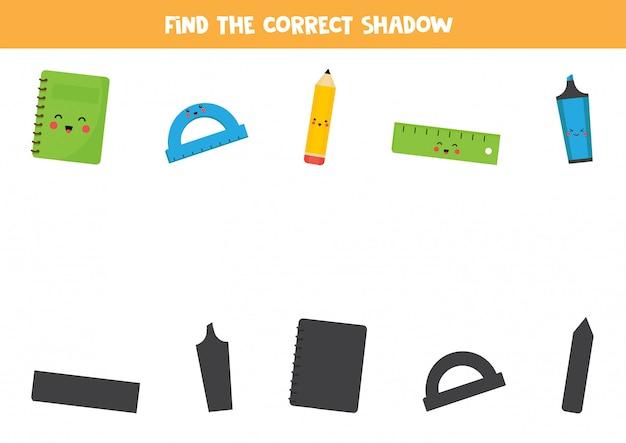 Найдите правильную тень от школьных канцтоваров.