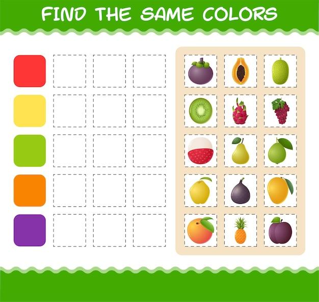 Найдите такие же цвета фруктов. игра на поиск и сопоставление. развивающая игра для дошкольников и малышей