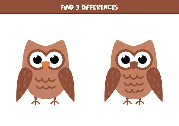 2つのかわいいフクロウの3つの違いを見つけてください。