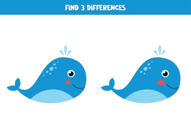 두 귀여운 고래 사이의 세 가지 차이점을 찾으십시오.