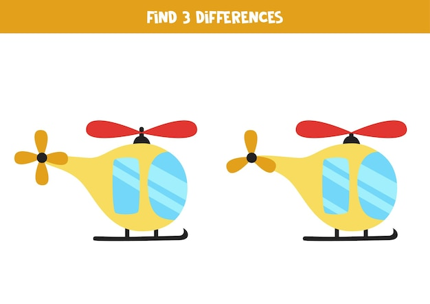 Find three differences between two cartoon helicopters.