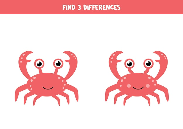 Find three differences between two cute crabs.