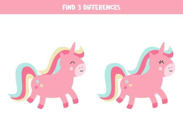 Find three differences between two cute unicorns.