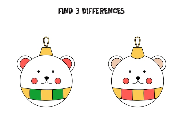 Find three differences between two pictures of christmas bauble.