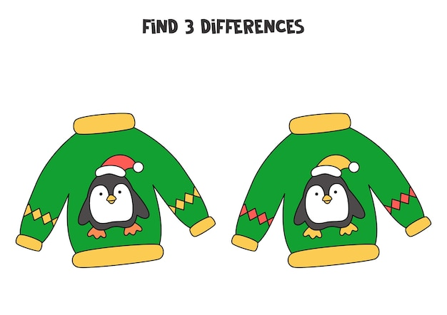 Find three differences between two pictures of christmas sweater.