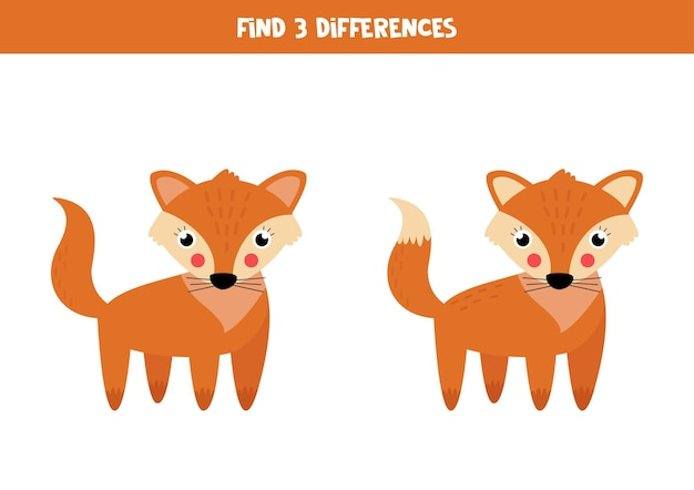 Find three differences between two pictures of cute fox.
