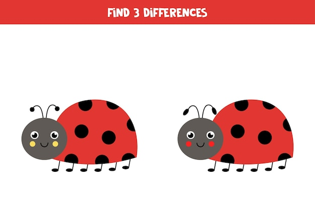 Find three differences between two pictures of cute ladybug.