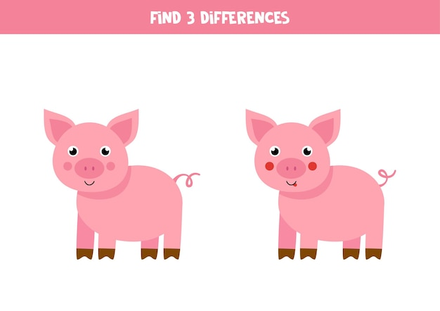 Find three differences between two pictures of cute pig.
