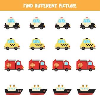 Найдите транспорт, который отличается от других. транспортный тематический лист.