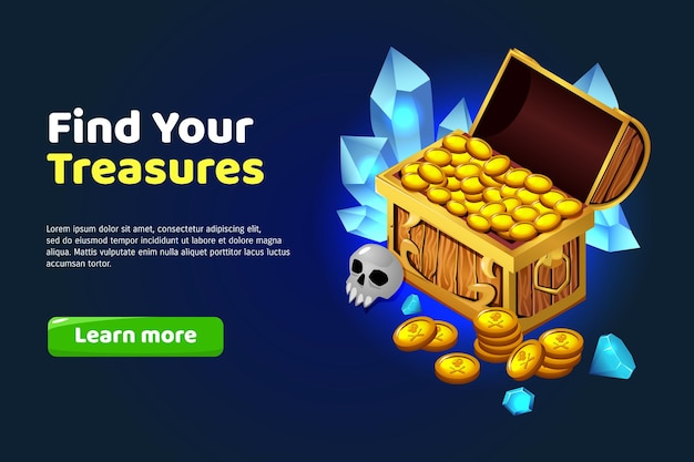 Find treasure cartoon banner with chest of gold and gemstones