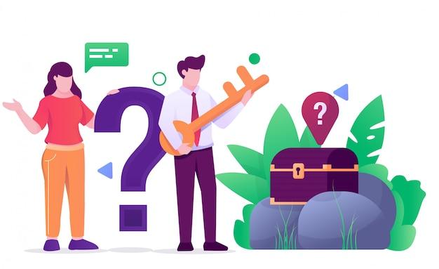 Find treasure questions flat illustration