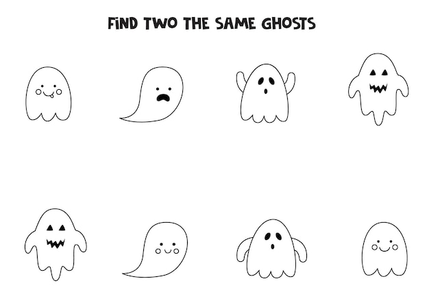 Find two identical halloween ghosts. educational game for preschool children.
