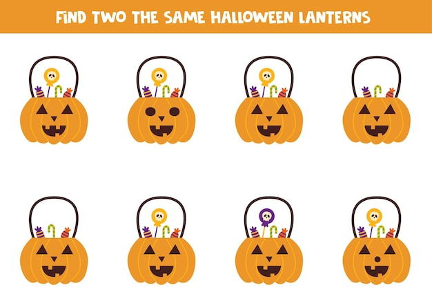 Find two identical halloween pumpkins with sweets. educational game for preschool children.