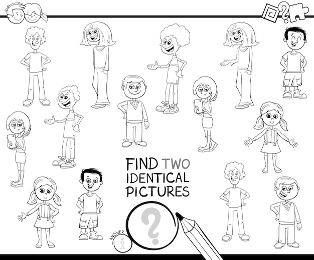 Find two identical kid characters color book
