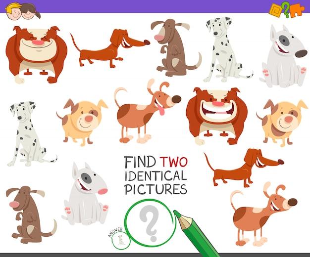 두 개의 동일한 그림 교육 활동 게임 찾기