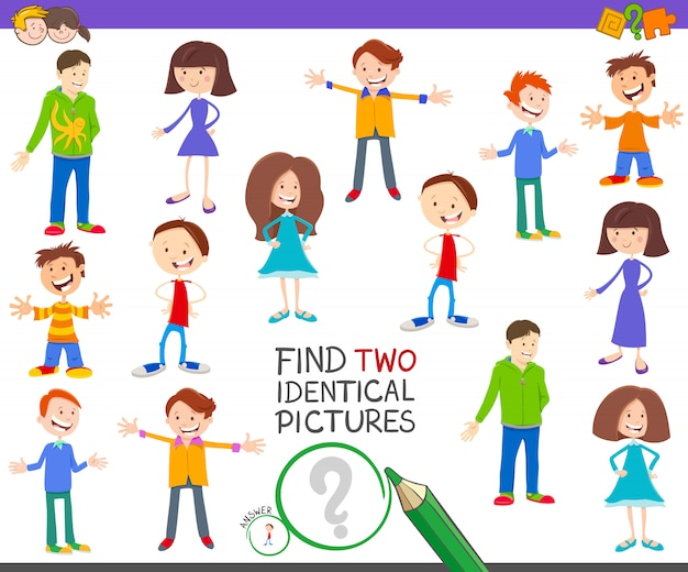 Find two identical pictures educational game for kids
