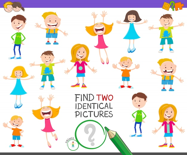 Find two identical pictures educational game with kids