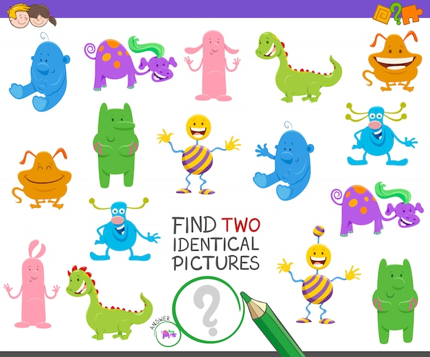 Find two identical pictures game with monsters
