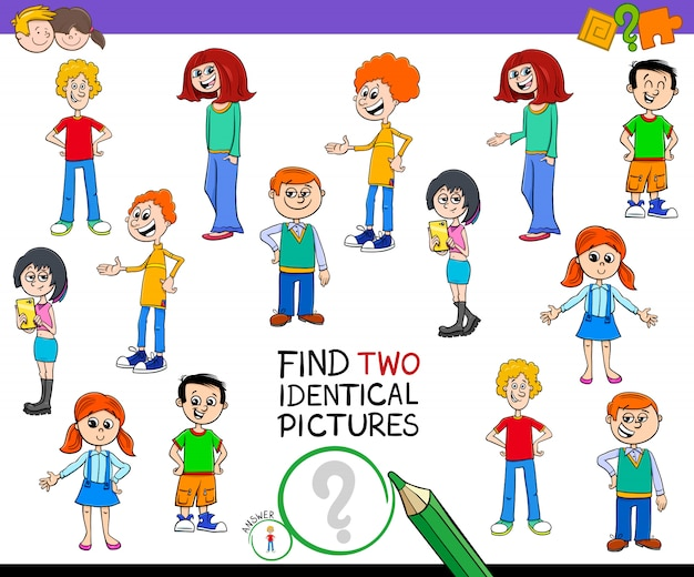 Find two identical pictures with kid characters