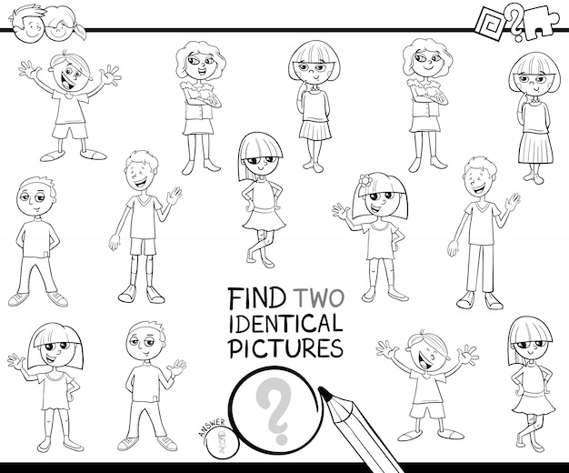 Find two identical pictures with kids color book
