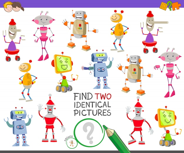 Find two identical robots educational game
