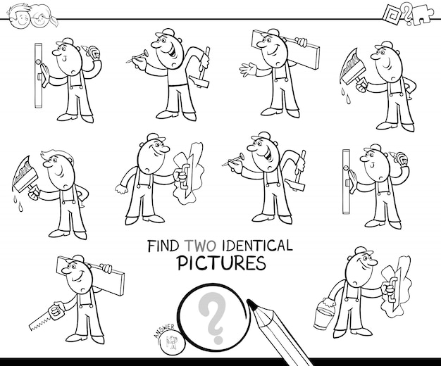 Find two identical worker pictures color book