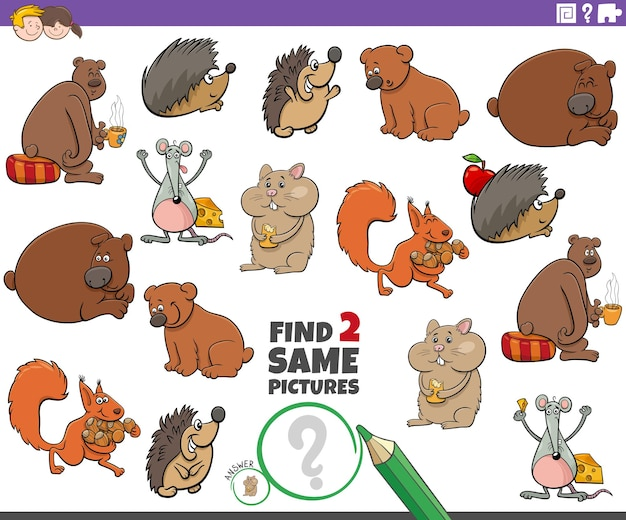 Find two same animal characters educational task