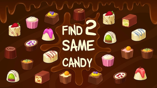 2つの同じキャンディーチョコレートトリュフ、ローストナッツキャンディー、プラリネスイーツを見つけてください。ベクトルキッズゲームは、漫画の菓子とチョコの滴りで同様のデザートを見つけます。教育的な子供たちの余暇活動