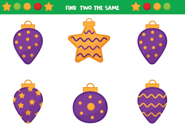 Find two the same christmas balls