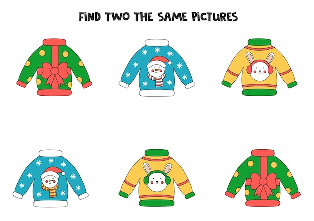 Find two the same christmas sweaters. educational logical game for kids.