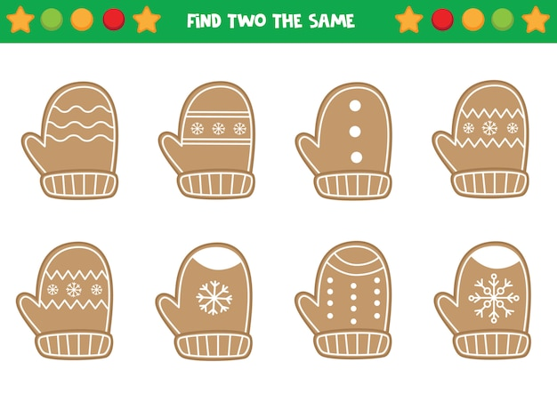 Find two the same christmas wreaths. educational worksheet for preschool kids