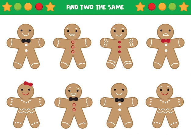 Find two the same gingerbread men. educational worksheet for preschool kids