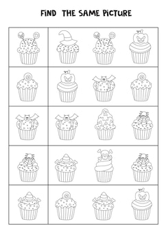 Find two the same halloween cupcakes. black and white worksheet.