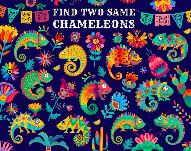 Find two same mexican chameleon lizards, kids game riddle, vector. find similar objects, puzzle or tabletop game worksheet with mexican cactus and flowers on papel picado or fiesta flags