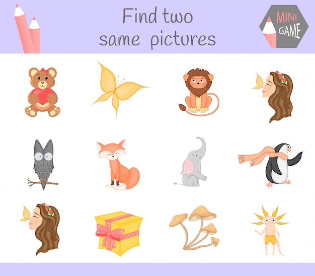Find two same pictures. cartoon vector illustration educational activity for preschool children.