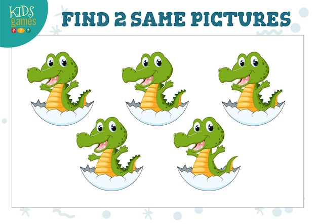 Find two same pictures kids game  illustration.