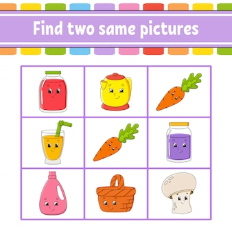 Find two same pictures. task for kids. education developing worksheet