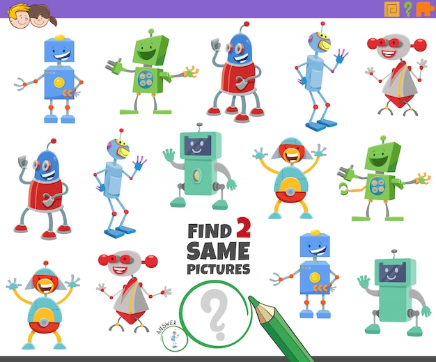 어린이를위한 두 개의 동일한 로봇 캐릭터 게임 찾기