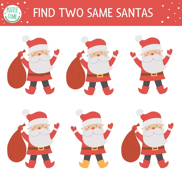 Find two same santas. christmas matching activity for children. funny educational winter logical quiz worksheet for kids. simple printable new year game with santa claus