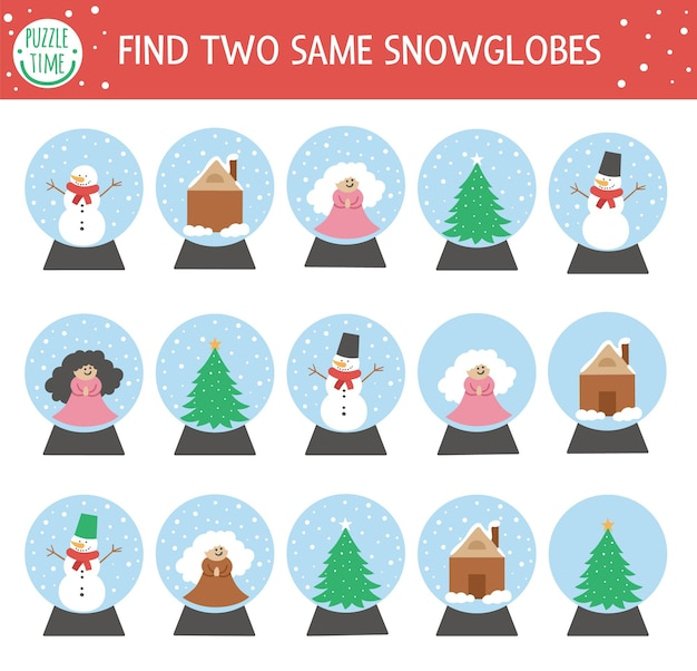 Find two same snow globes. christmas matching activity for children. funny educational winter logical quiz worksheet for kids. simple printable new year game with traditional toy