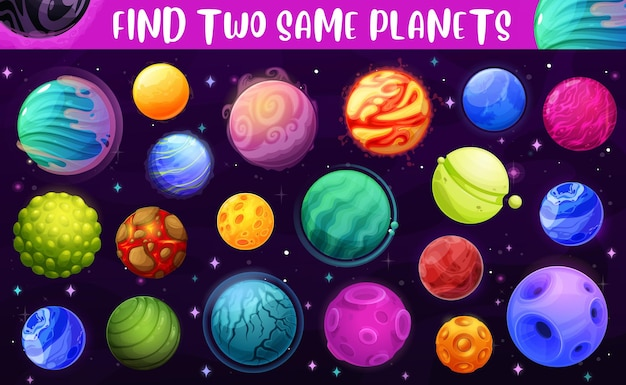 Find two same space planets, kids game or puzzle Premium Vector