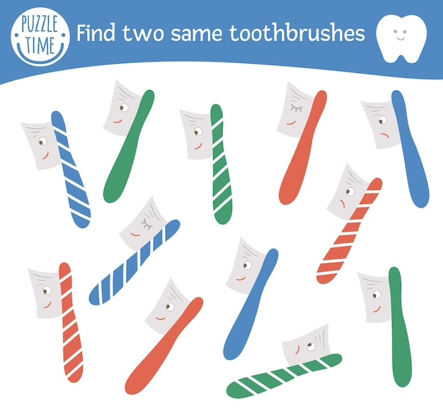 Find two same toothbrushes. dental care themed matching activity for preschool children with cute elements. funny mouth hygiene game for kids. printable worksheet with funny kawaii tooth brush.