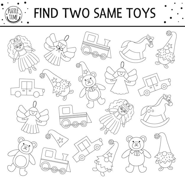 Найдите две одинаковые игрушки. черно-белое рождественское задание для детей. веселая обучающая зимняя логическая викторина для детей. простая распечатанная новогодняя игра или раскраска