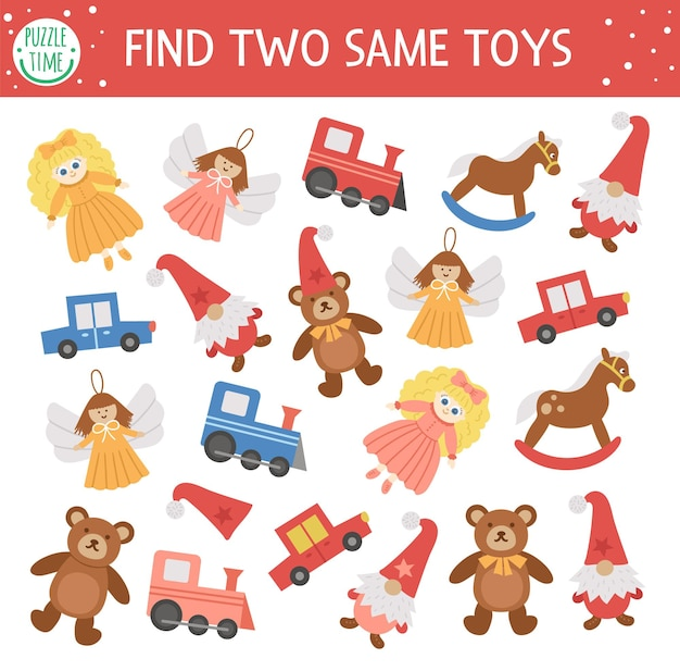 두 개의 동일한 장난감 찾기 어린이를 위한 크리스마스 매칭 활동 새해 게임