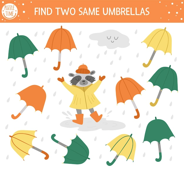 Найдите два одинаковых зонтика. осенний матч для детей. забавный образовательный осенний сезон логической викторины для детей. простая игра для печати с дождем, облаком и милым енотом