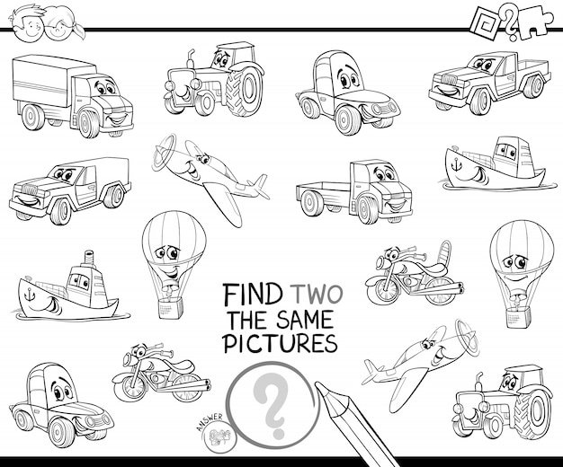 Find two the same vehicles color book