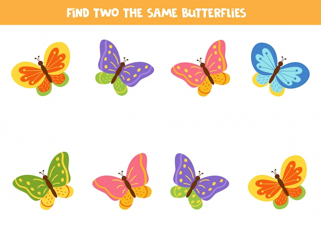 Найди двух одинаковых милых мультяшных бабочек.